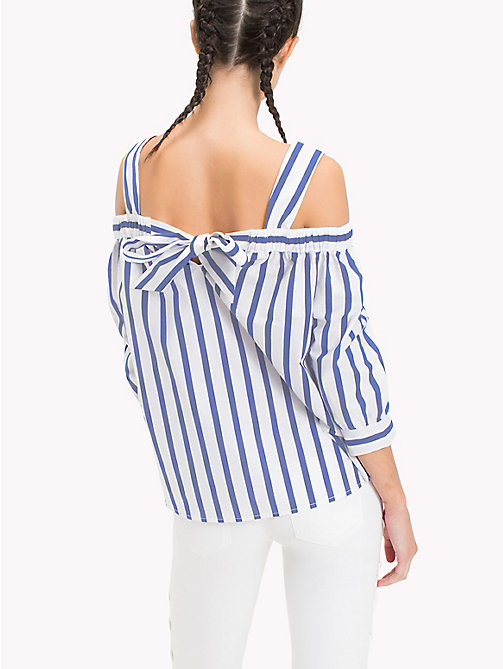 TOMMY JEANS Off-shoulder blouse met strepen - BLUE PRINT / BRIGHT WHITE - TOMMY JEANS Tops - detail image 1