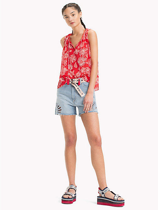 TOMMY JEANS Floral Print Top - NAIVE FLOWER PRINT/POPPY RED - TOMMY JEANS Festivals Season - main image