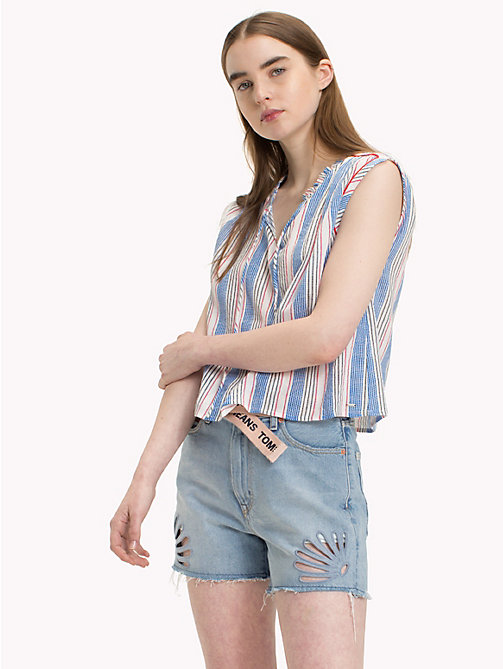TOMMY JEANS Multicolour Stripe Top - BLITHE / POPPY RED MULTI - TOMMY JEANS Vacation Style - main image