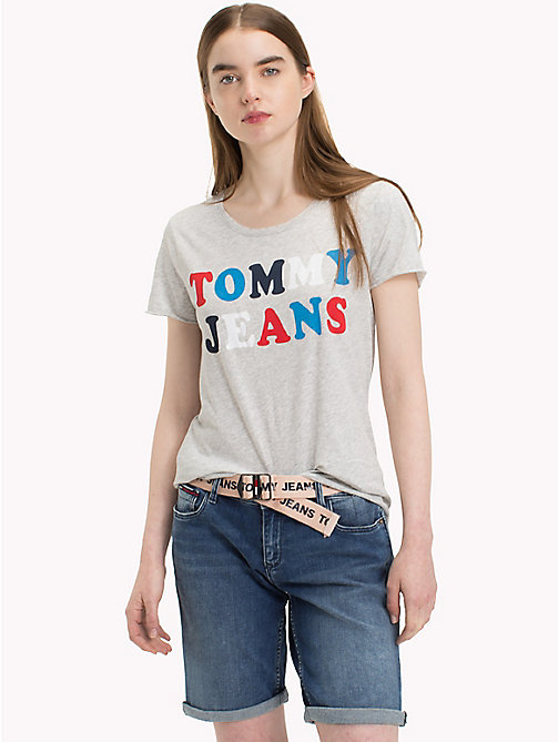TOMMY JEANS Organic Cotton Colour Pop Logo T-Shirt - LIGHT GREY HTR BC03 - TOMMY JEANS Vacation Style - main image