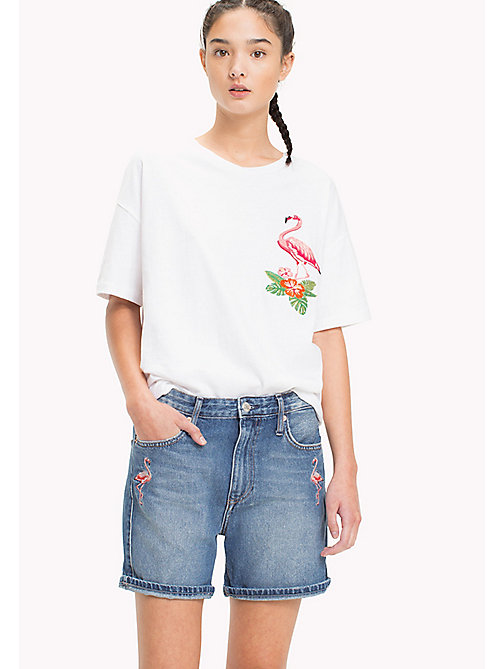TOMMY JEANS T-shirt brodé flamant rose - BRIGHT WHITE - TOMMY JEANS Looks de vacances - image principale