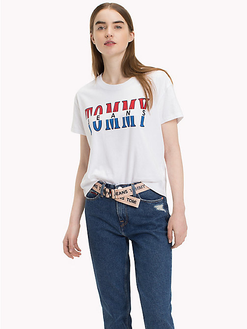 TOMMY JEANS Retro Logo T-Shirt - BRIGHT WHITE - TOMMY JEANS Tops - main image
