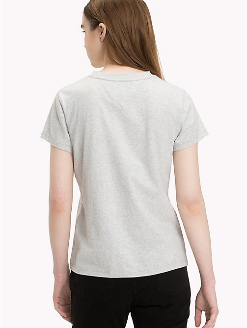 TOMMY JEANS T-Shirt mit Metallic-Logo - LIGHT GREY HTR BC03 - TOMMY JEANS Tops - main image 1