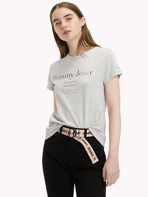 TOMMY JEANS T-Shirt mit Metallic-Logo - LIGHT GREY HTR BC03 - TOMMY JEANS Clothing - main image