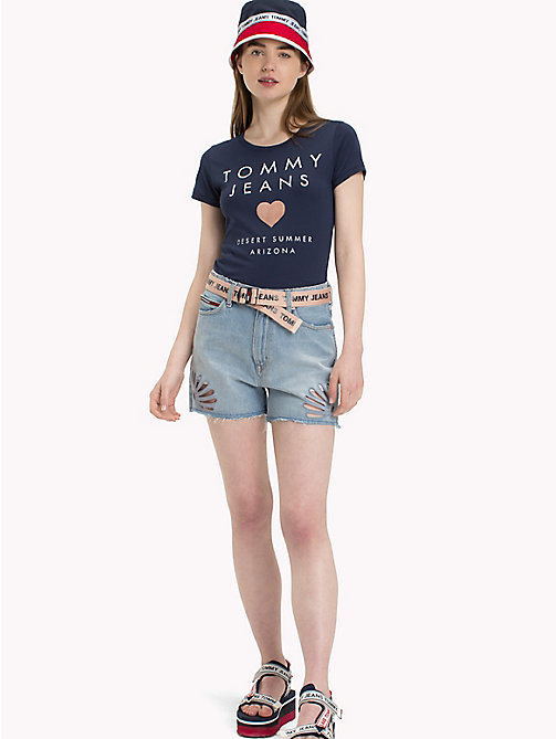 TOMMY JEANS Heart Logo T-Shirt - BLACK IRIS - TOMMY JEANS Clothing - main image