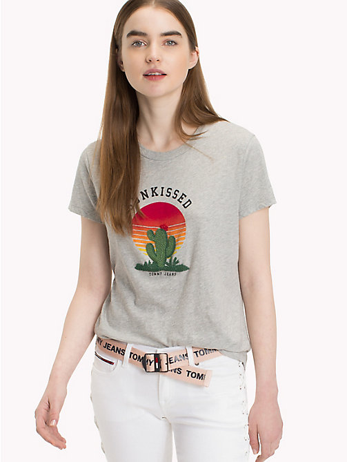 TOMMY JEANS T-Shirt mit Kaktusmuster - LIGHT GREY HTR BC03 - TOMMY JEANS Tops - main image