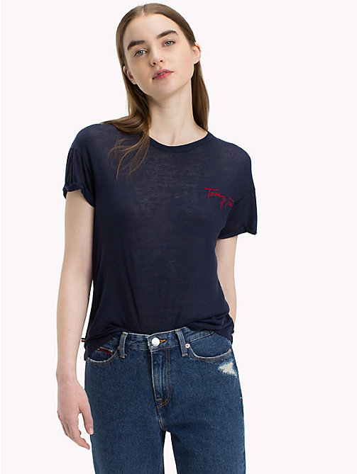 TOMMY JEANS Embroidered Slogan T-Shirt - BLACK IRIS - TOMMY JEANS Tops - main image