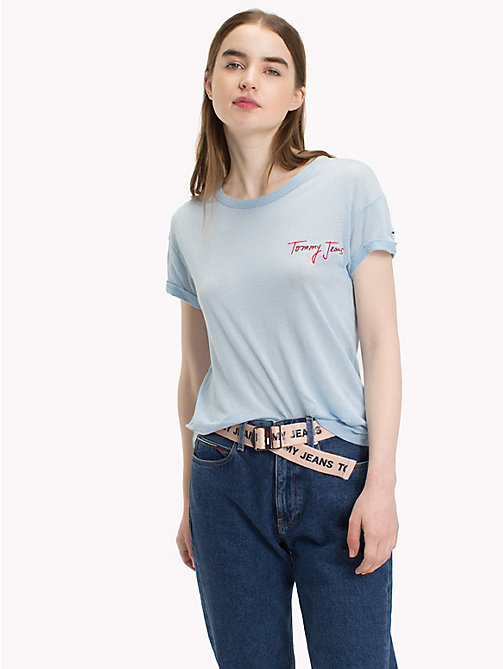 TOMMY JEANS Embroidered Slogan T-Shirt - SKYWAY - TOMMY JEANS Tops - main image