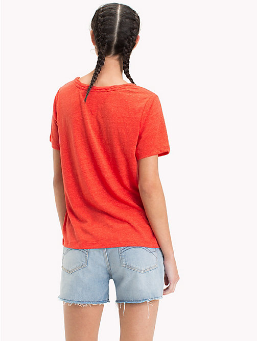 TOMMY JEANS Crew Neck T-Shirt - POPPY RED - TOMMY JEANS Tops - detail image 1