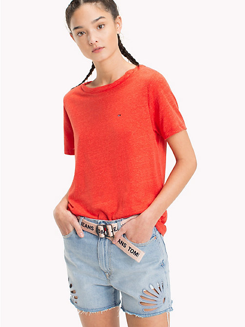 TOMMY JEANS Crew Neck T-Shirt - POPPY RED - TOMMY JEANS Tops - main image