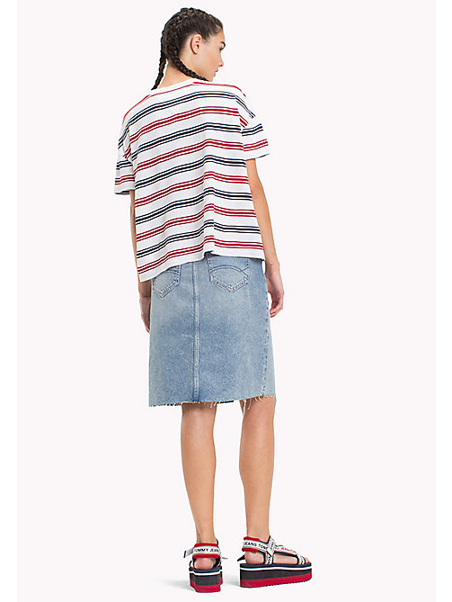 TOMMY JEANS Stripe Relaxed Fit T-Shirt - SNOW WHITE / MULTI - TOMMY JEANS Tops - detail image 1