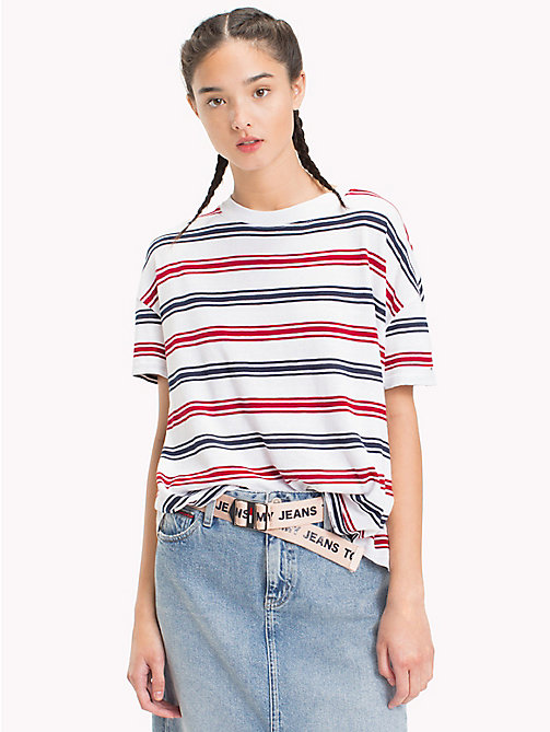 TOMMY JEANS Stripe Relaxed Fit T-Shirt - SNOW WHITE / MULTI - TOMMY JEANS Tops - main image
