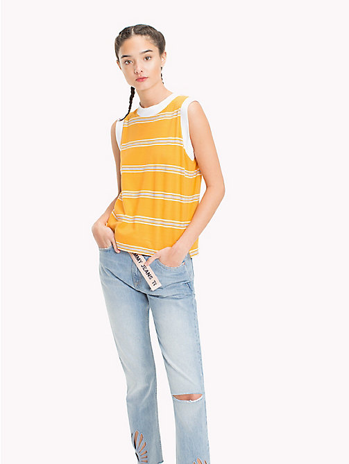 TOMMY JEANS Gestreifte Boxy Fit Weste - BUTTERSCOTCH MULTI - TOMMY JEANS Tops - main image