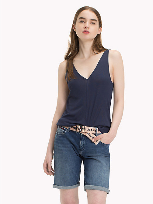 TOMMY JEANS Micro Stripe Tank Top - BLACK IRIS -  Tops - main image