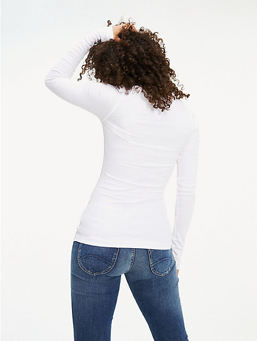 TOMMY JEANS Long Sleeve Rib T-Shirt - CLASSIC WHITE - TOMMY JEANS Tops - detail image 1