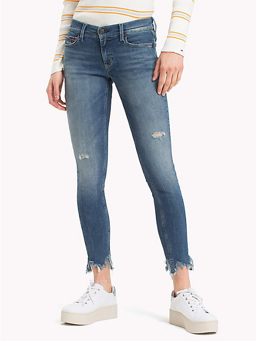 TOMMY JEANS Frayed Hem Cropped Skinny Fit Jeans - TENNY MID BLUE STRETCH - TOMMY JEANS Jeans - main image
