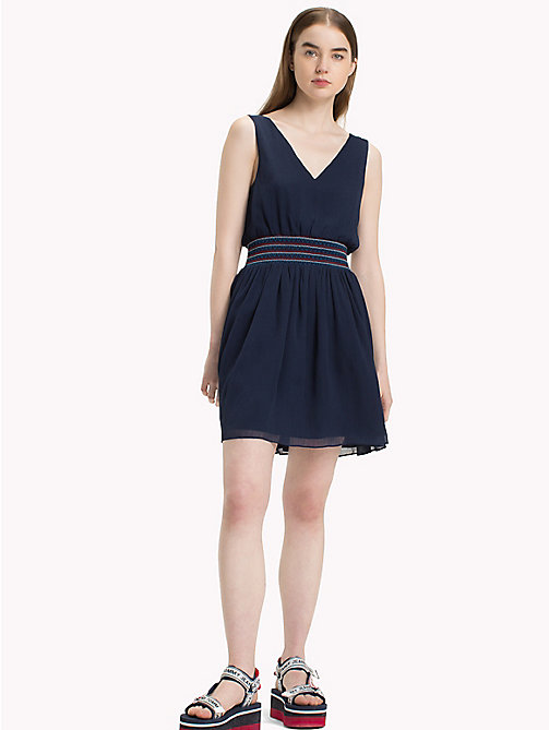 TOMMY JEANS Gesmoktes Easy Fit Kleid - BLACK IRIS - TOMMY JEANS Mini - main image