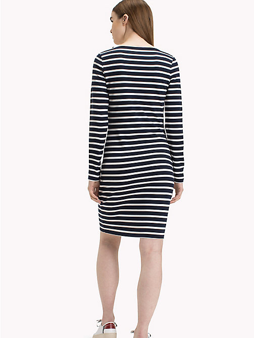 TOMMY JEANS Stripe Bodycon Dress - BLACK IRIS / BRIGHT WHITE - TOMMY JEANS Midi - detail image 1