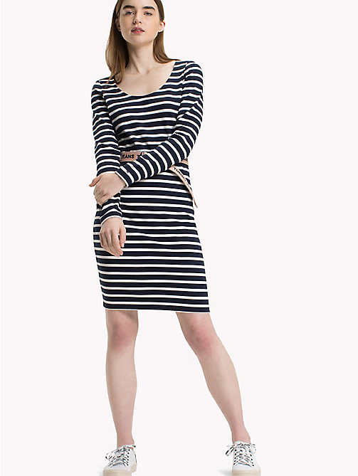 TOMMY JEANS Gestreiftes Bodycon-Kleid - BLACK IRIS / BRIGHT WHITE - TOMMY JEANS Midi - main image