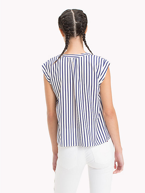 TOMMY JEANS Short-Sleeved Stripe Top - BLUE PRINT / BRIGHT WHITE - TOMMY JEANS Tops - detail image 1