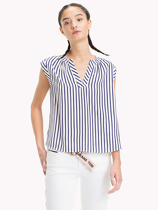 TOMMY JEANS Kurzarm-Bluse mit Streifen - BLUE PRINT / BRIGHT WHITE - TOMMY JEANS Tops - main image