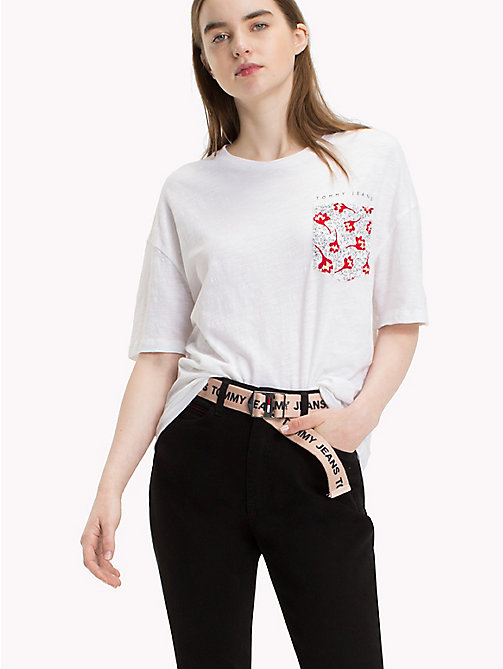 TOMMY JEANS Floral Pocket T-Shirt - BRIGHT WHITE - TOMMY JEANS Tops - main image