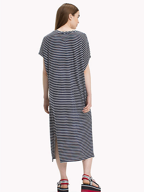 TOMMY JEANS Stripe T-Shirt Dress - BRIGHT WHITE / BLACK IRIS - TOMMY JEANS Midi - detail image 1
