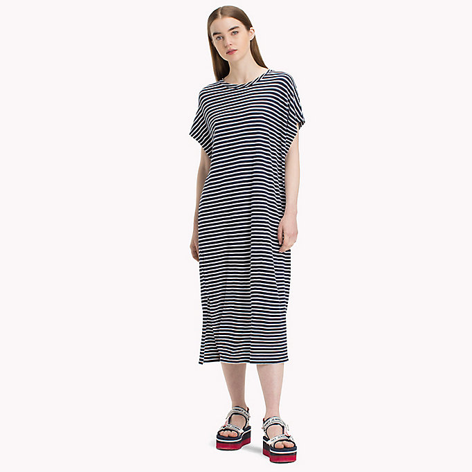 TOMMY JEANS Stripe T-Shirt Dress - POPPY RED / BRIGHT WHITE - TOMMY JEANS Women - main image