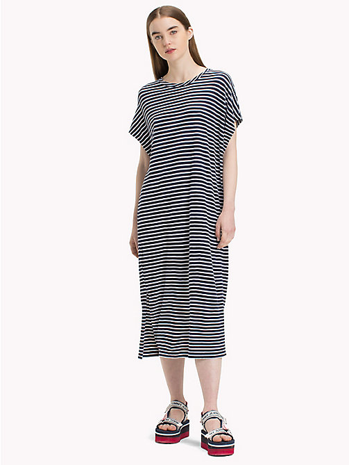 TOMMY JEANS Stripe T-Shirt Dress - BRIGHT WHITE / BLACK IRIS - TOMMY JEANS Midi - main image