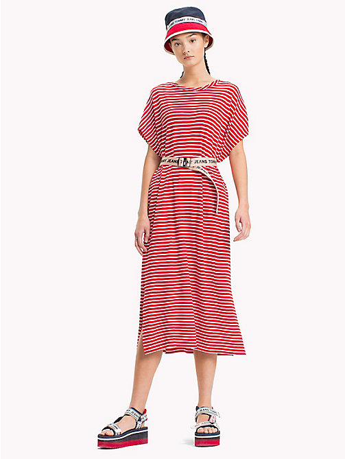 TOMMY JEANS Stripe T-Shirt Dress - POPPY RED / BRIGHT WHITE - TOMMY JEANS Festival Season - main image