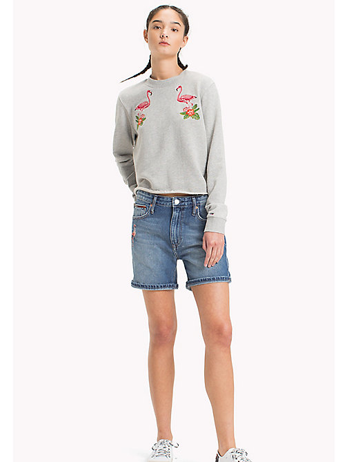 TOMMY JEANS Sweat flamants roses en pur coton - LIGHT GREY HTR BC03 - TOMMY JEANS Vêtements - image principale