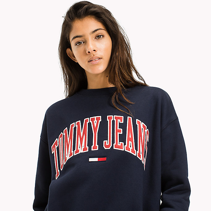 TOMMY JEANS Fleece Logo Sweatshirt - BRIGHT WHITE - TOMMY JEANS Clothing - detail image 2