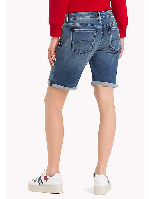 TOMMY JEANS Longer Length Denim Shorts - NEWPORT MID BLUE STR - TOMMY JEANS Trousers & Skirts - detail image 1