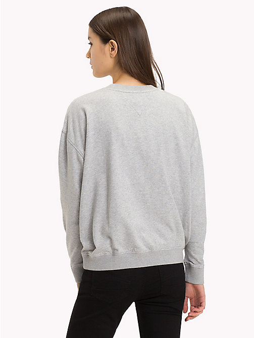 TOMMY JEANS Have A Nice Day Jumper - LIGHT GREY HTR BC03 - TOMMY JEANS Sweatshirts & Hoodies - detail image 1