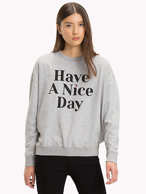 "TOMMY JEANS Pullover ""Have A Nice Day"" - LIGHT GREY HTR BC03 - TOMMY JEANS Sweatshirts & Kapuzenpullover - main image"