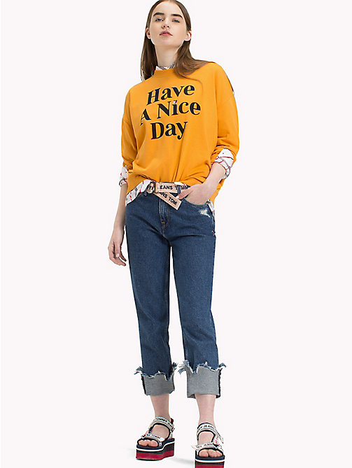 TOMMY JEANS Have A Nice Day Jumper - BUTTERSCOTCH - TOMMY JEANS Festival Season - main image
