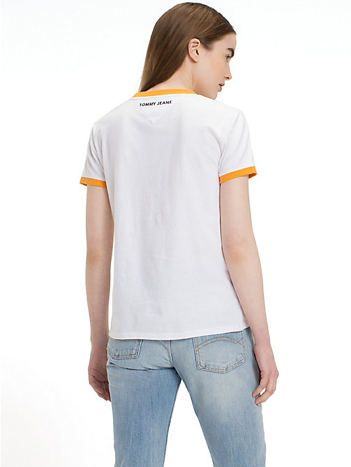 TOMMY JEANS Embroidered Logo T-Shirt - BRIGHT WHITE - TOMMY JEANS Tops - detail image 1