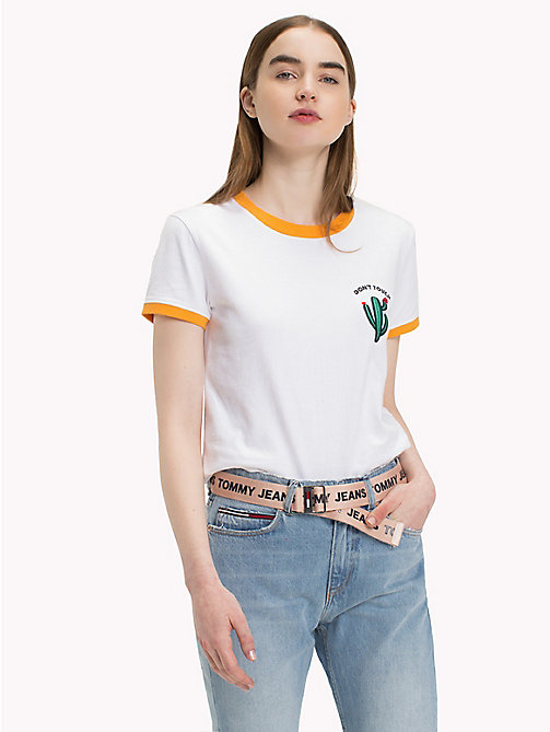 TOMMY JEANS Embroidered Logo T-Shirt - BRIGHT WHITE - TOMMY JEANS Tops - main image