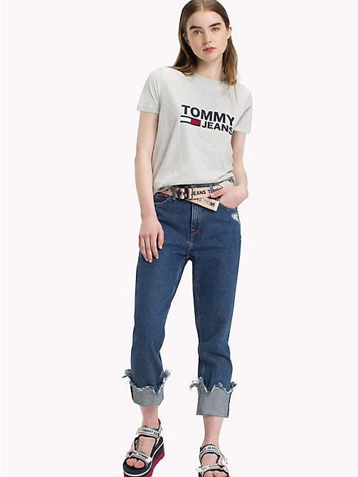 TOMMY JEANS Tommy Jeans Flag T-Shirt - LIGHT GREY HTR BC03 - TOMMY JEANS Tops - main image