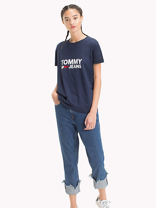 TOMMY JEANS Tommy Jeans Flag T-Shirt - BLACK IRIS - TOMMY JEANS Tops - main image