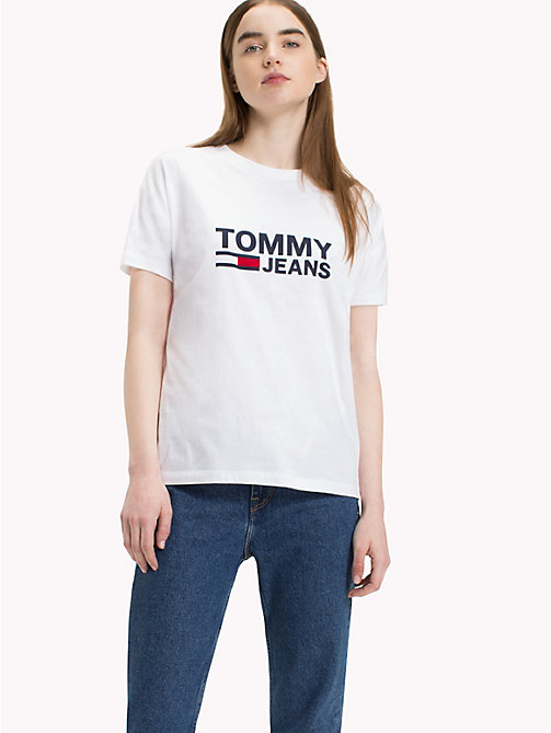 TOMMY JEANS Tommy Jeans Flag T-Shirt - BRIGHT WHITE - TOMMY JEANS Tops - main image