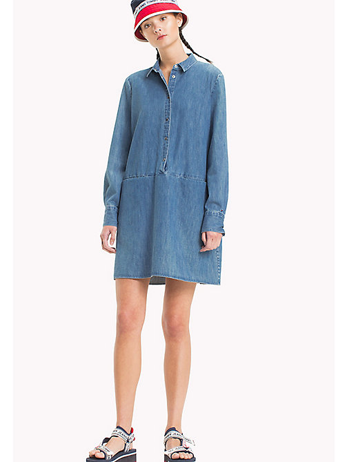 TOMMY JEANS Denim Shirt Dress - MID INDIGO - TOMMY JEANS Shirt Dresses - main image