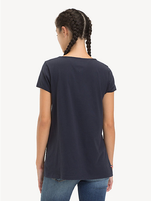 TOMMY JEANS Organic Cotton V-Neck T-Shirt - BLACK IRIS - TOMMY JEANS Sustainable Evolution - detail image 1