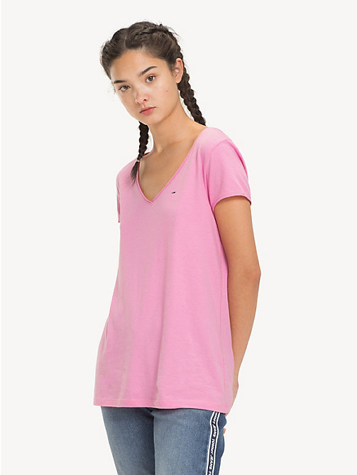 TOMMY JEANS V-Neck T-Shirt - LILAC CHIFFON - TOMMY JEANS Sustainable Evolution - main image