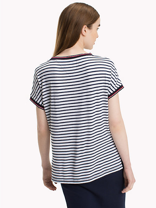 TOMMY JEANS Gestreiftes T-Shirt - BLACK IRIS / BRIGHT WHITE - TOMMY JEANS Tops - main image 1