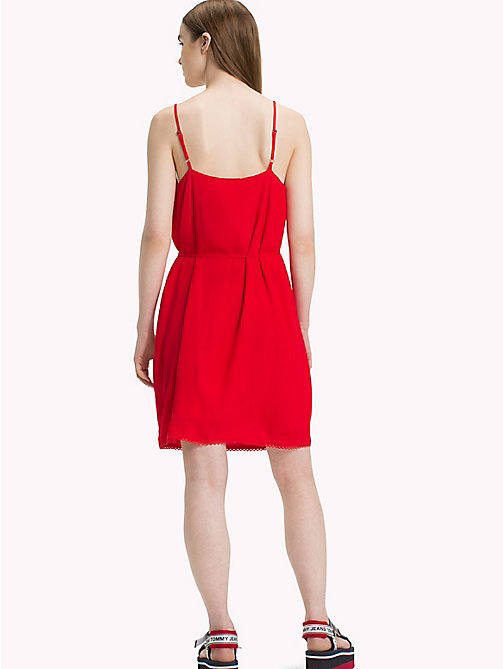 TOMMY JEANS Lightweight A-Line Dress - POPPY RED - TOMMY JEANS Vacation Style - detail image 1