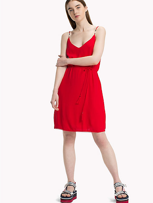 TOMMY JEANS Lightweight A-Line Dress - POPPY RED - TOMMY JEANS Vacation Style - main image