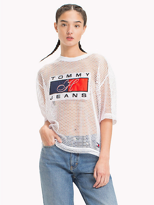 TOMMY JEANS 90s-T-Shirt aus Mesh - BRIGHT WHITE - TOMMY JEANS TOMMY JEANS Capsule - main image