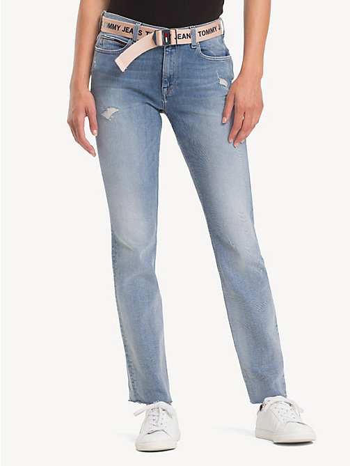 TOMMY JEANS TJ 1985 Straight Fit Jeans - FLASH LIGHT BLUE COMF DESTR - TOMMY JEANS Jeans - main image