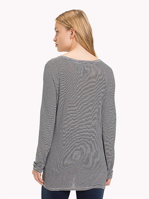 TOMMY JEANS All-Over Stripe Top - TOMMY BLACK / BRIGHT WHITE -  Tops - detail image 1